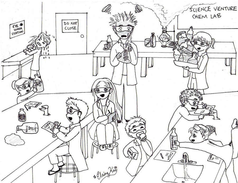 Science Lab Safety Cartoon Drawing Sketch Coloring Page – Lab Safety Cartoon Worksheet