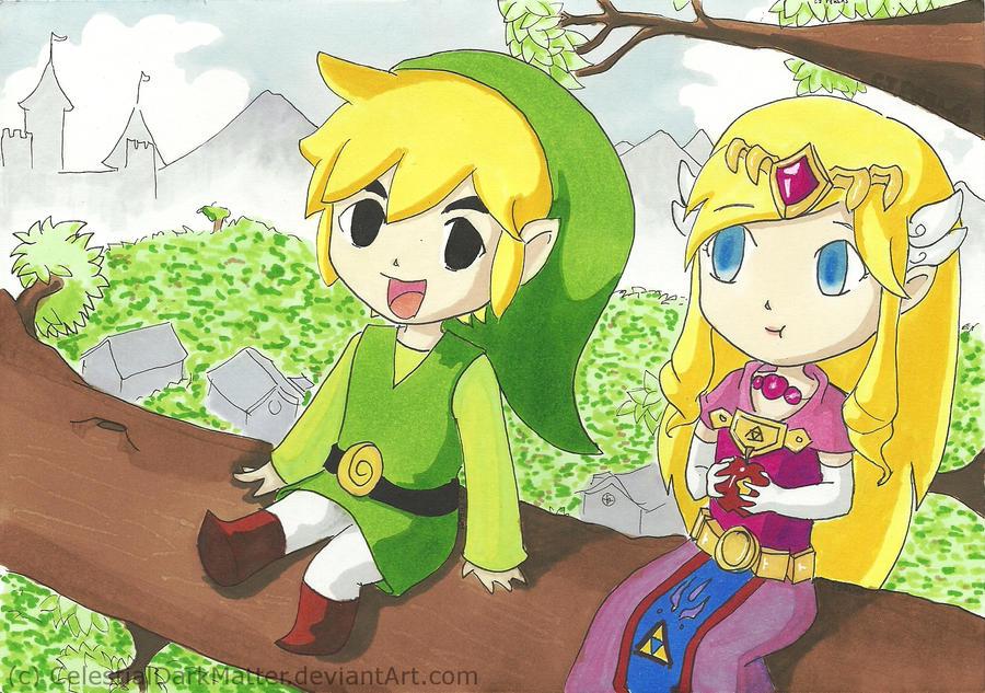 Link and Zelda by CelestialDarkMatter