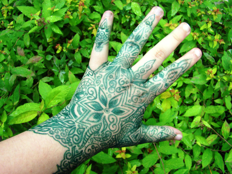 Green Sharpie Henna Tattoo Glove by Kurotsuki-Kietsu