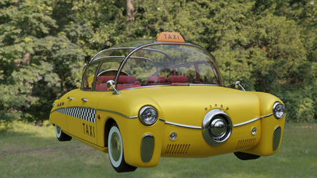 Retrofuturistic taxi 11 (forest)