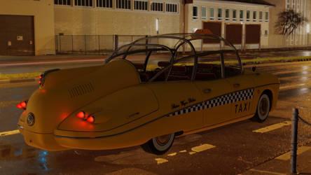 Retrofuturistic taxi 13 (night street)
