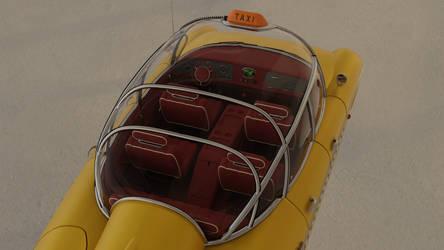 Retrofuturistic taxi 14 (top view)
