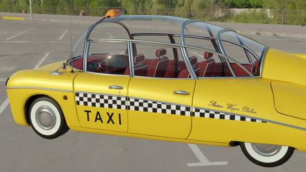 Retrofuturistic taxi 15 (parking lot 2, side view)