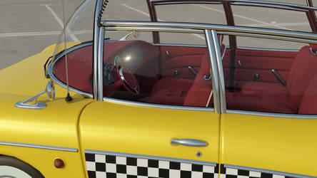 Retrofuturistic taxi 16 (parking lot, side window)