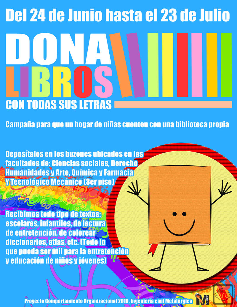 Afiche - 'Dona Libros' by half-brain-monkey