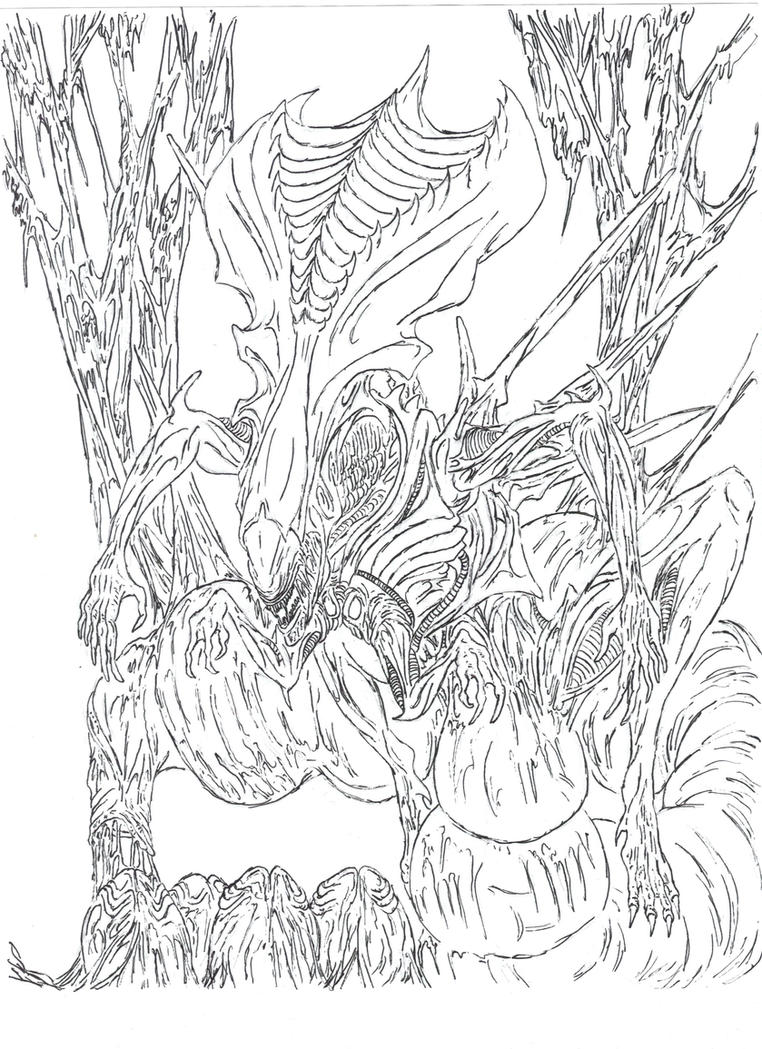 Alien queen by wretchedspawn2012 on deviantart for Xenomorph coloring pages