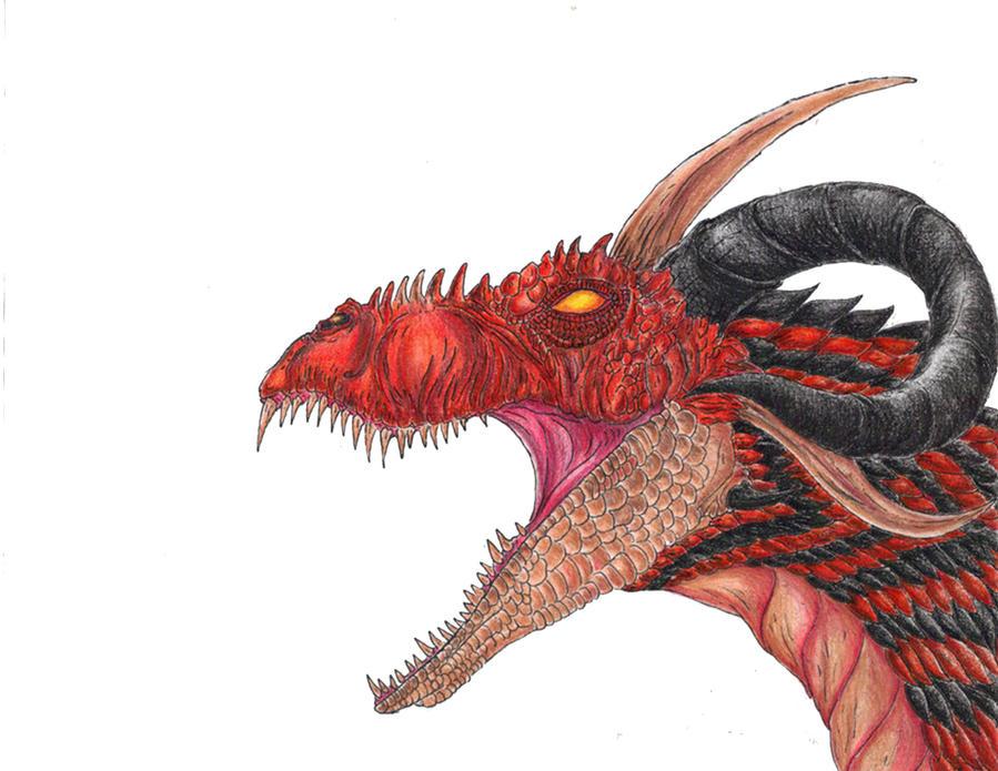 Gargantuan Red Dragon by WretchedSpawn2012