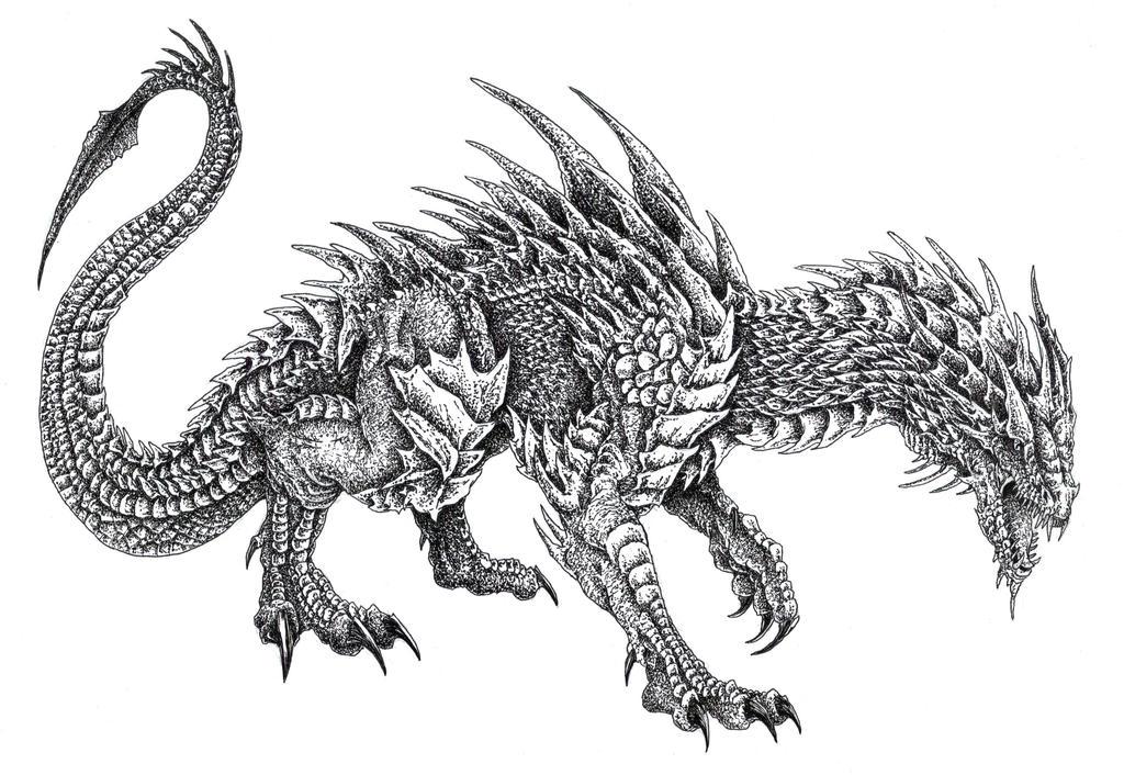 Wingless Fire Dragon b...