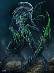 Bloody Xenomorph by WretchedSpawn2012