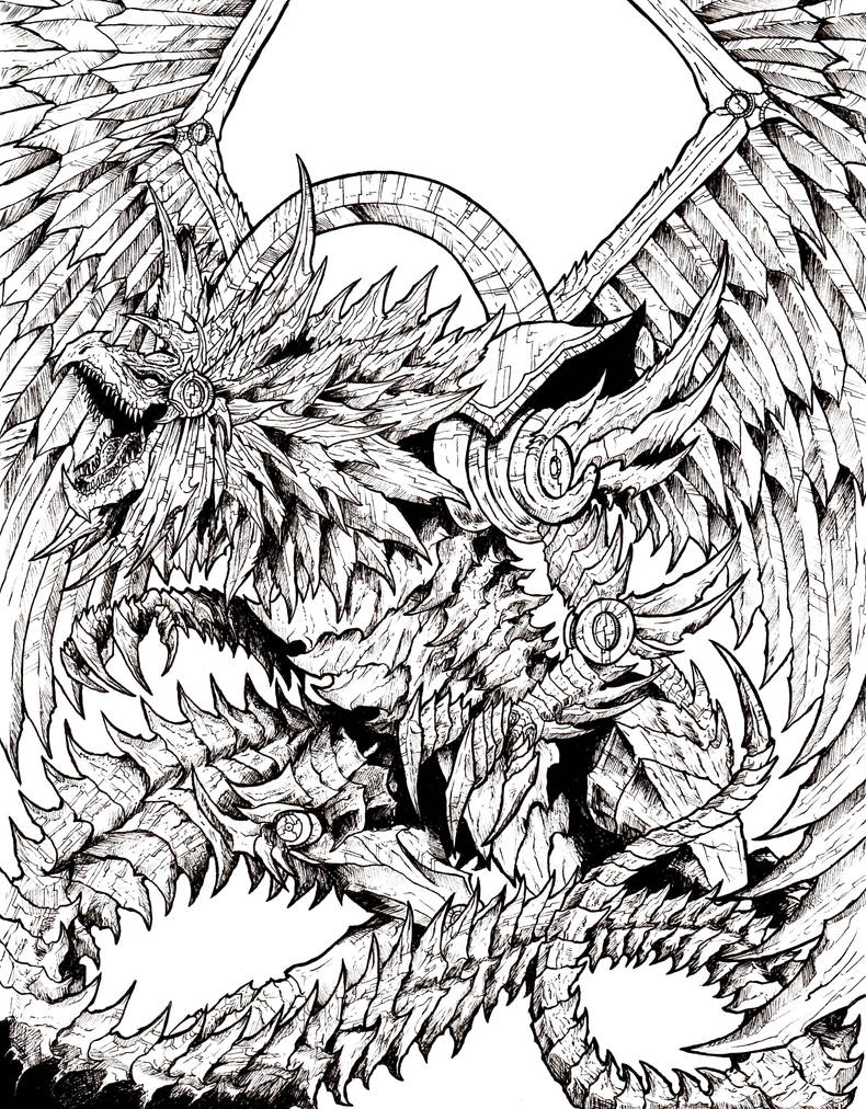 Winged Dragon Of Ra Lineart By Wretchedspawn2012 On Deviantart