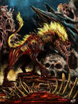 Flaming Necrowolf by WretchedSpawn2012