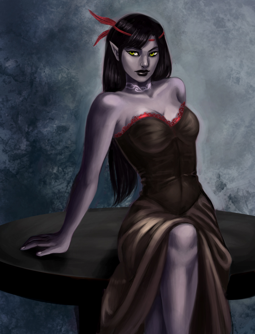 Commission: drow pin up by iara-art