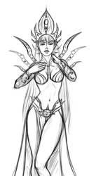 Drow Queen sketch by iara-art