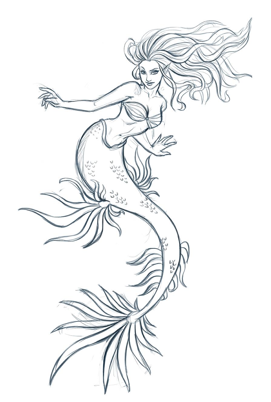 Mermaid sketch by iara-art Mermaid Sketch