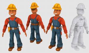 Cartoon Carpenter-Builder Man