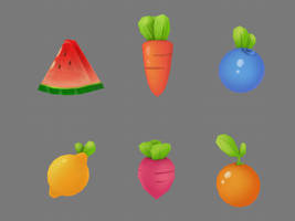 Cartoon Fruits and Veggies Collection 3D by DenisDrakulla