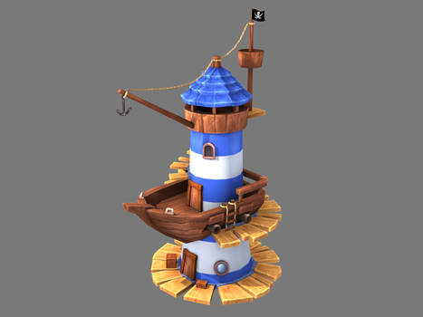 Lowpoly Stylized 3D Lighthouse