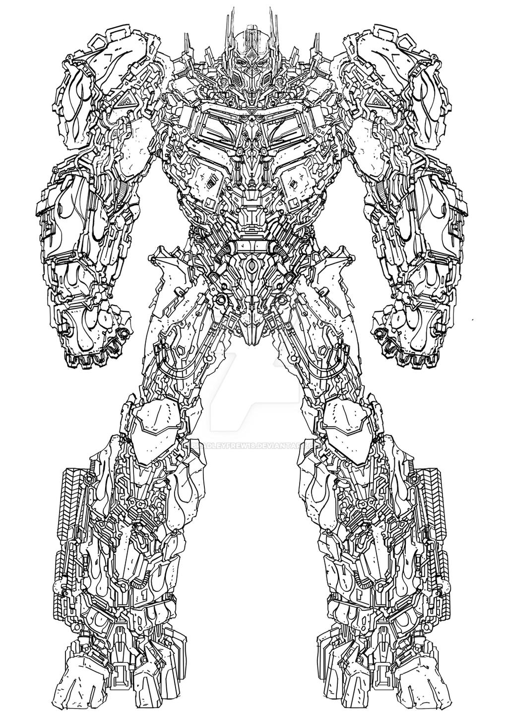 Transformers 5 Optimus Prime Concept Art Outline By