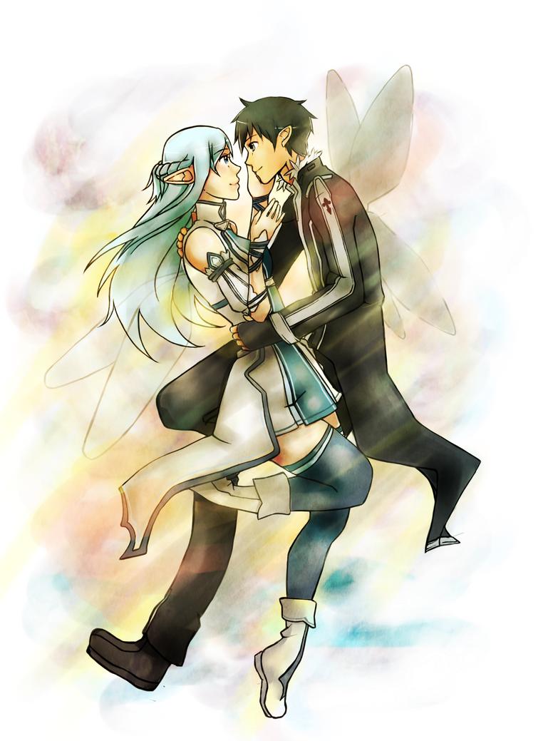 Kirito and Asuna - Sword Art Online by Feutre34