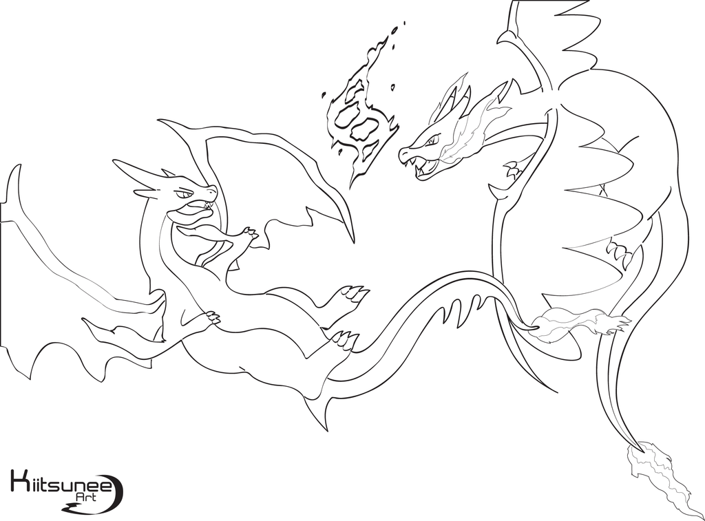 mega charizard x coloring page - who 39 s the strongest mega charizard y x lineart by
