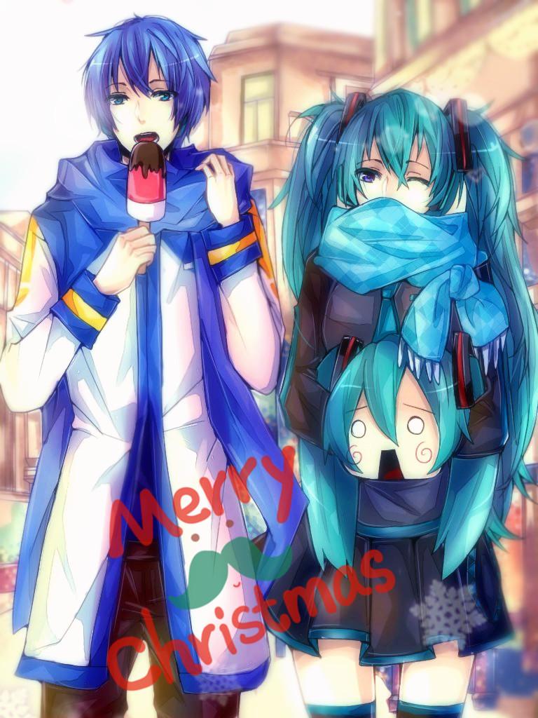 Merry Early Xmas from Miku and Kaito by Kuri-Nii