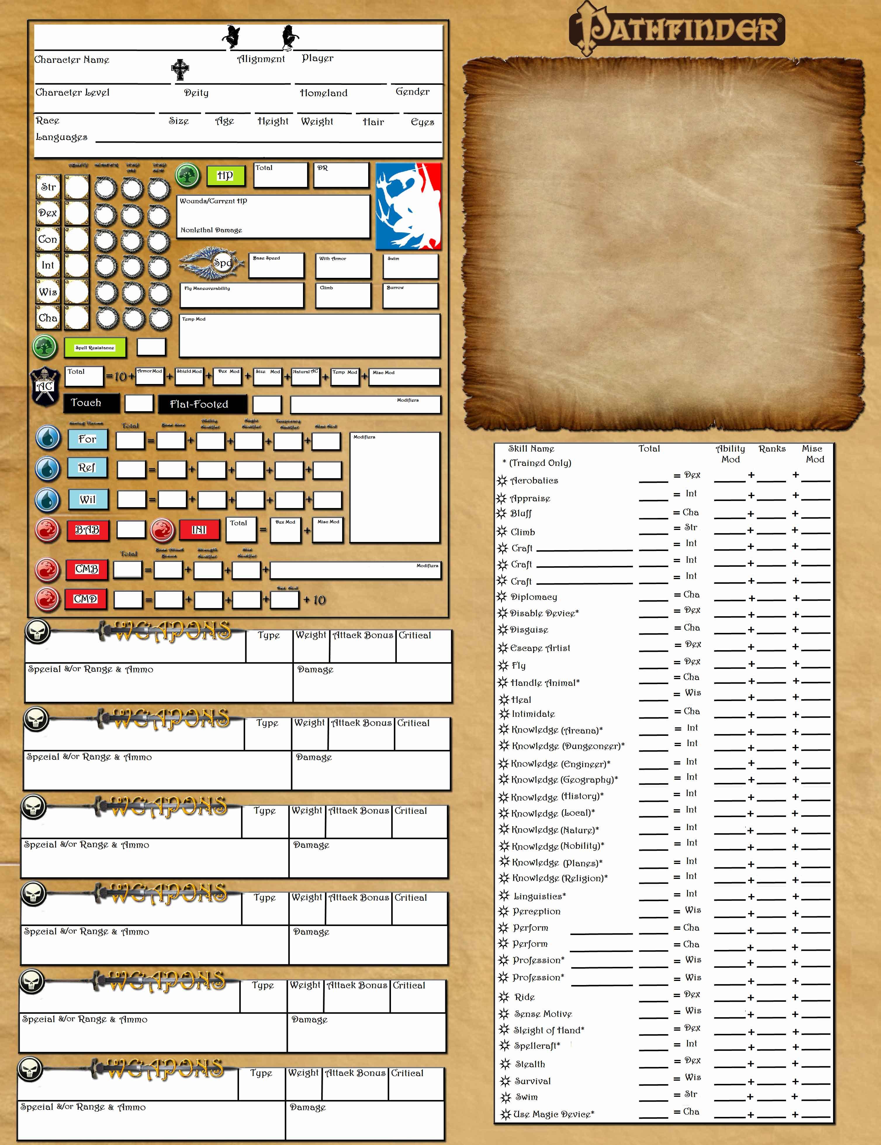 pathfinder character sheet printable