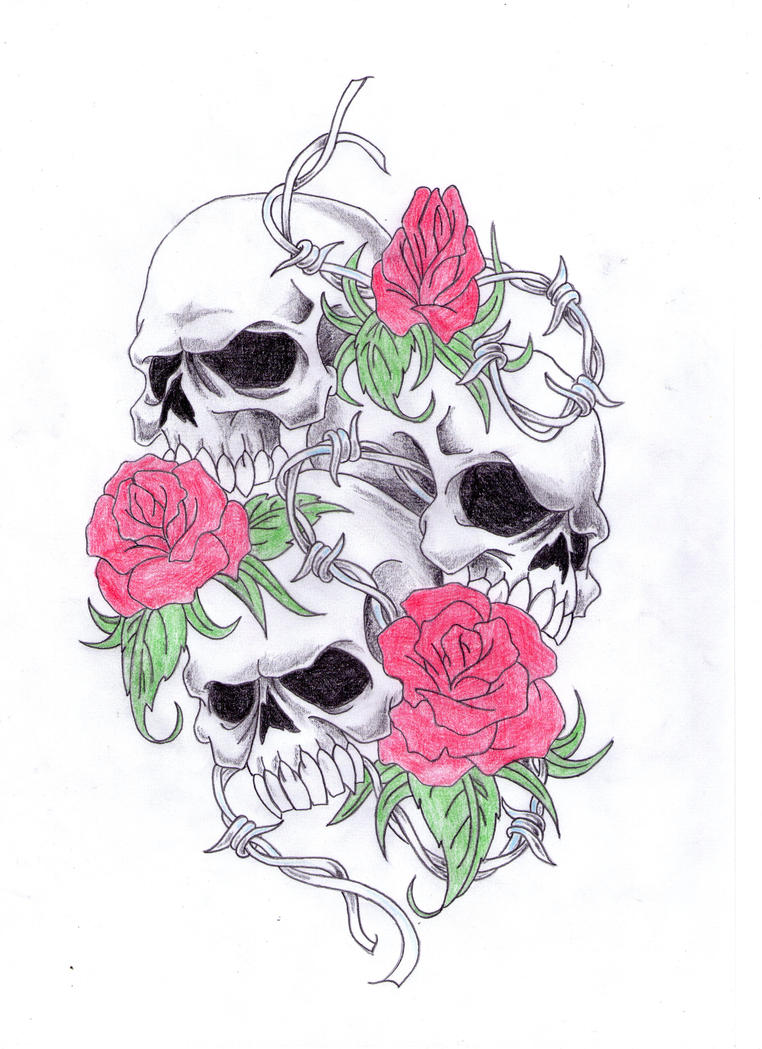 This is a picture of Sly Rose And Skull Drawing