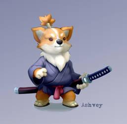 Corgi Samurai