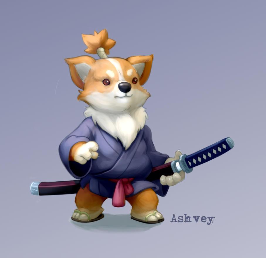 Corgi Samurai by ashvey