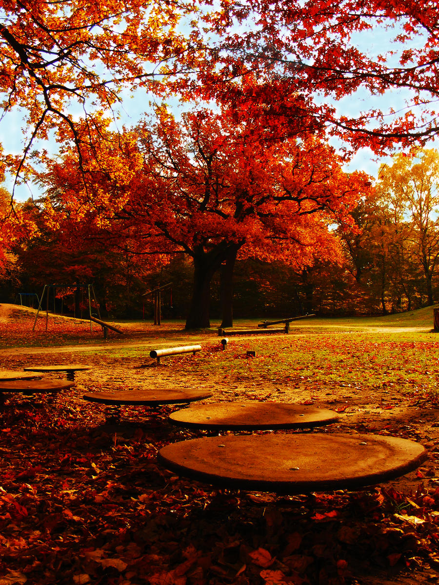 children play ground in autumn by rockmylife