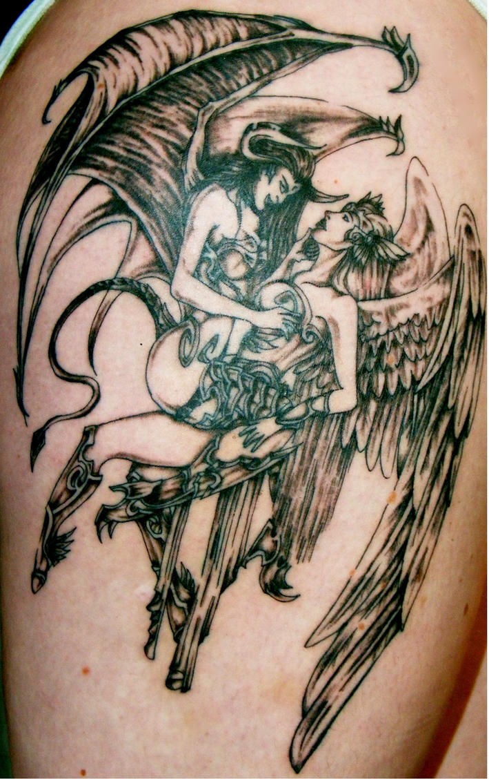 leg tattoo  angel and demon by rockmylife