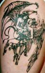 leg tattoo  angel and demon