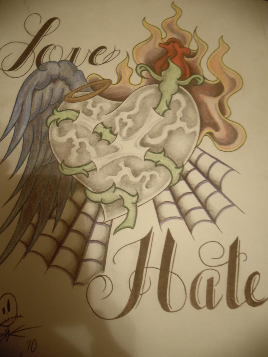 Love and hate tattoo by mythias on deviantart for Love n hate tattoo