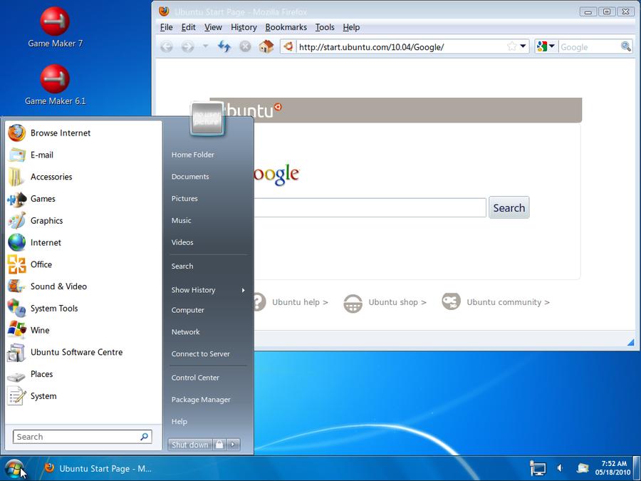 ubuntu 10.04 looks like 7 by mazodude