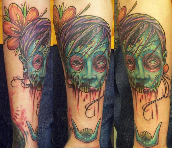 female with tattoo