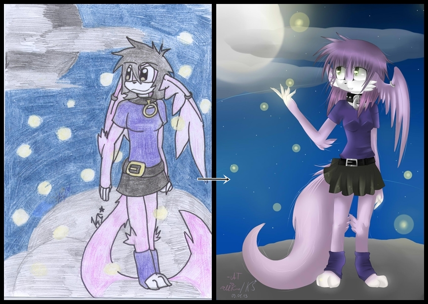Comparing/Vergleich MEME Moonlight by KenotheWolf