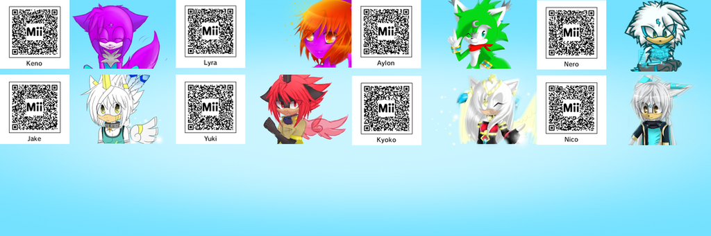 Mii qr codes of my characters by kenothewolf on deviantart
