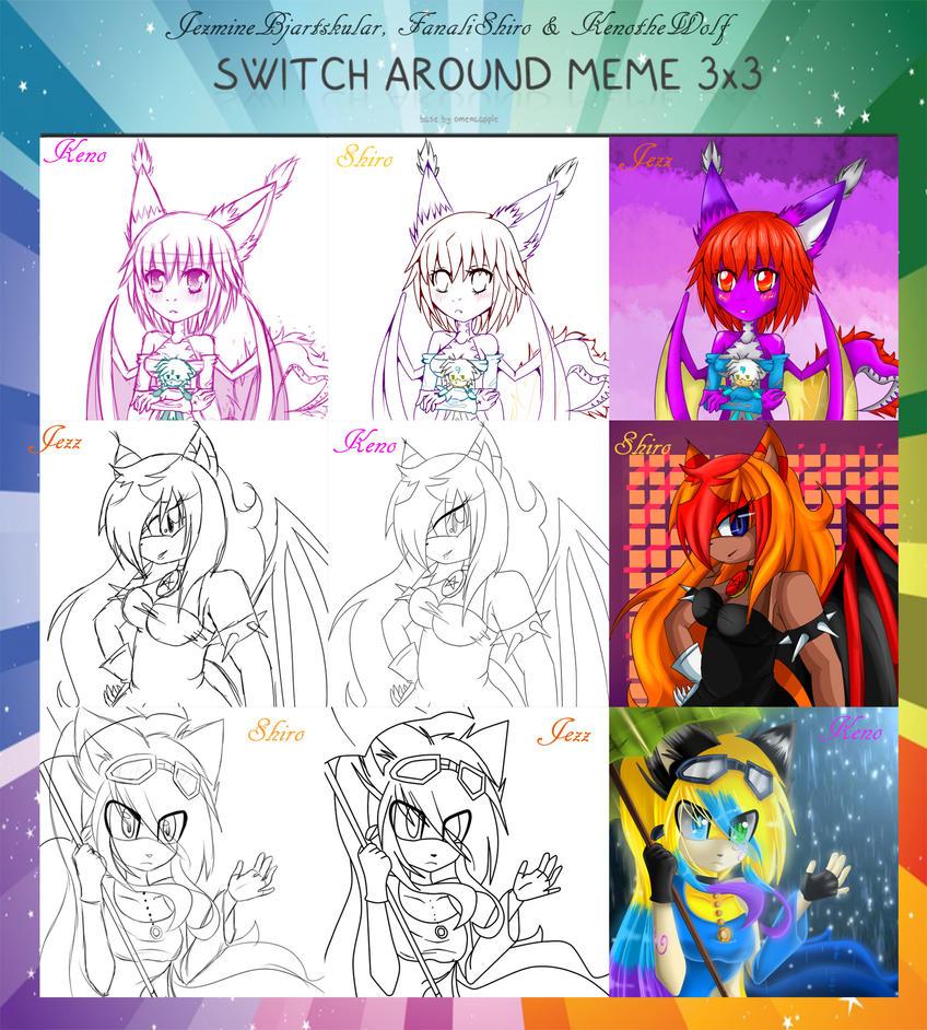 [Switch Meme] JezmineXShiroXKeno by KenotheWolf