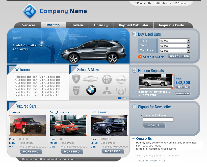 Auto Dealer Web Interface by mohsin1983