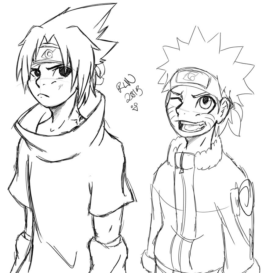 Sasuke and Naruto Doodles by tyler-gf123
