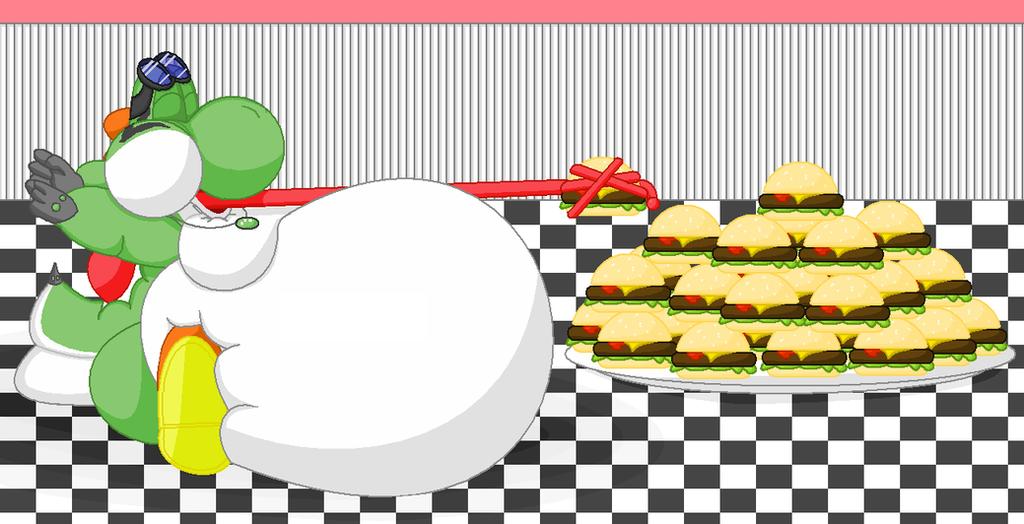 The_yoshi Eating Burgers by BiggestYoshifan
