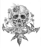 Skull and Bee by urielstempest