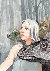 Daenerys with dragons