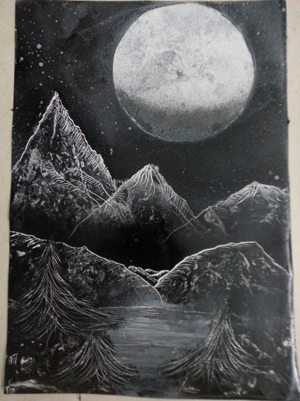 Spray paint art black and white nature scene by for White and black paintings