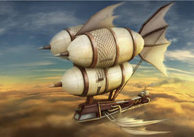 Steampunk air ship by Zerox-II