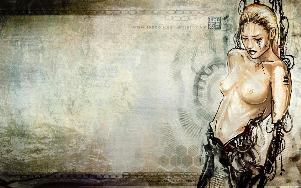 10. Best Wallpaper Art Painting | Nude Cyborg Woman