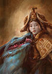 Girl with likra hound by Tsabo6