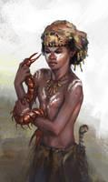 Clan Kapak kid and his pet by Tsabo6