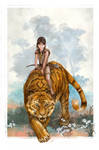 Yo on a tiger