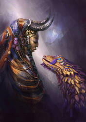 Feyki girl and her pet